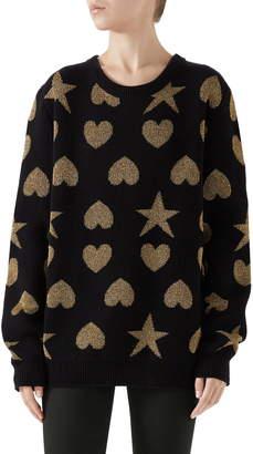 Gucci Metallic Logo Wool Blend Sweater