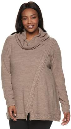 Croft & Barrow Plus Size Cable-Knit Cowlneck Sweater