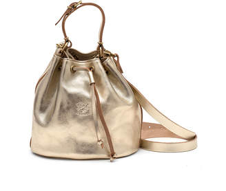 Il Bisonte Metallic Leather Drawstring Bucket Bag, Champagne