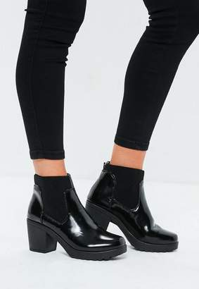 Missguided Black High Shine Chunky Chelsea Boots