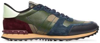 Valentino multicoloured camouflage rock runner leather sneakers
