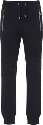 Balmain Zip-Detailed Cotton-Jersey Biker Sweatpants