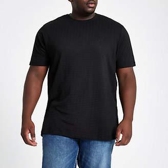 River Island Mens Big and Tall waffle slim fit crew T-shirt