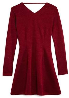 Miss Behave Girls' Estelle Knit Shimmer Dress - Big Kid