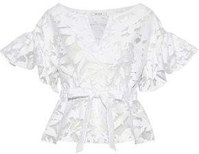 Milly Bow-Detailed Ruffled Fil Coupé Cotton-Blend Top