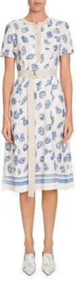 Altuzarra Caletta Short-Sleeve Belted Pottery-Print A-Line Midi Dress