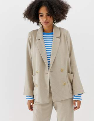 Monki oversized blazer in beige