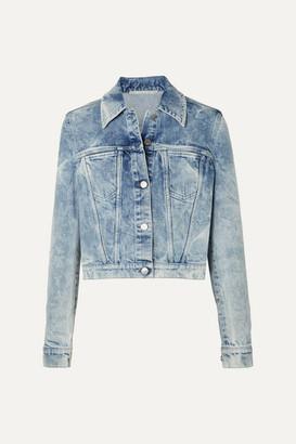 Stella McCartney Net Sustain Embroidered Distressed Denim Jacket - Blue