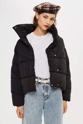 Topshop Black Wrap Puffer Jacket
