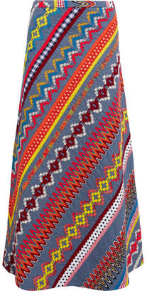 Tory Burch - Clemente Embroidered Cotton Maxi Skirt - Blue