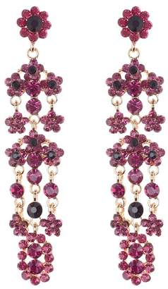 Natasha Accessories Floral Crystal Drop Chandelier Earrings