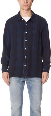 Remi Relief Indigo Rayon Blockcheck Slit Shirt