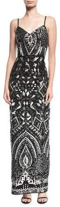 Aidan Mattox Embroidered Sleeveless Sequined Evening Gown