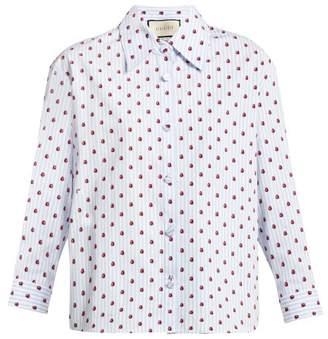afd7608f376 Gucci Ladybird Print Striped Cotton Shirt - Womens - Light Blue