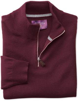 Charles Tyrwhitt Wine Cashmere Zip Neck Sweater Size XL