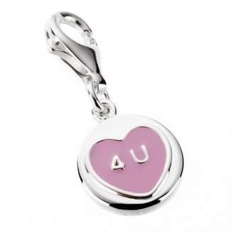 Love Hearts Sterling Silver & Pink Enamel Mini '4 U' Charm (to fit B618 charm bracelet)