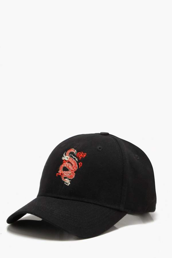 boohoo Gold Thread Dragon Embroidered Cap