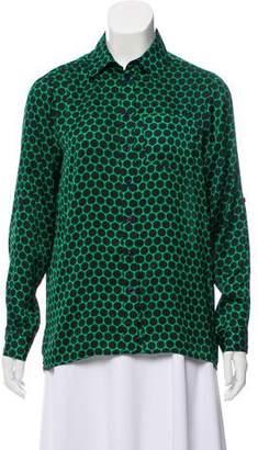 Michael Kors Polka Dot Button-Up Top
