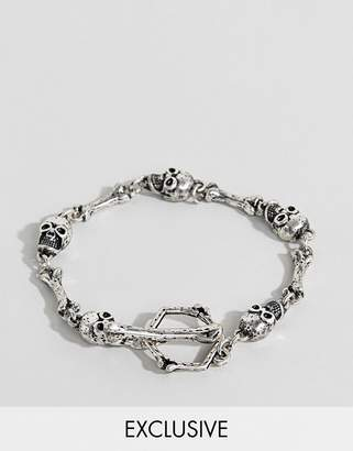 Reclaimed Vintage inspired chain bracelet with skulls exclusive at ASOS
