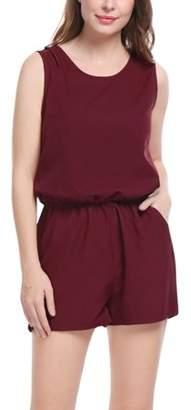 Allegra K Women's Sleeveless Cut Out Back Elastic Waist Romper