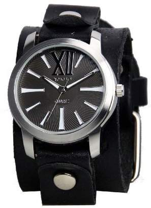 Nemesis #GB065KW Women's Exclusive Collection Roman Black Leather Cuff Band Watch