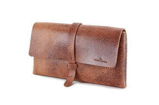 Buffalo David Bitton Colsenkeane Leather No. 317 Glazed Tan Leather Clutch