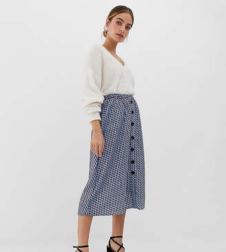 Y.A.S Petite geo print button through skirt