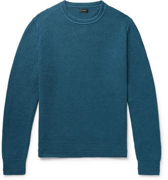 J.Crew Honeycomb-Knit Cotton Sweater - Petrol