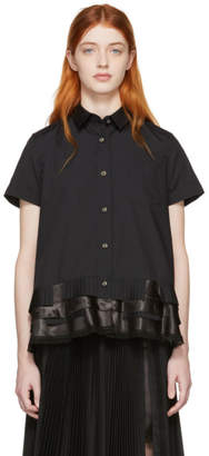 Sacai Black Poplin Short Sleeve Shirt