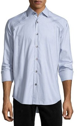 Bogosse Jacquard Long-Sleeve Sport Shirt, Gray $185 thestylecure.com