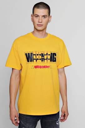 boohoo Lo Fi Warning Print Oversized T-Shirt