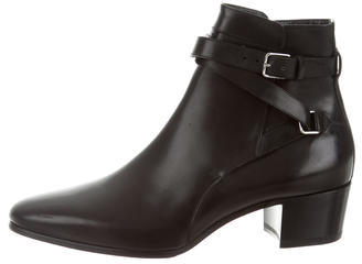 Saint Laurent Saint Laurent Leather Round-Toe Ankle Boots an