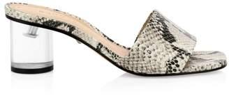 Schutz Mirlande Snake-Print Clear Heel Slides
