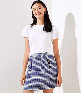 LOFT Tweed Zip Pocket Shift Skirt