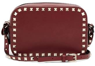 Valentino Rockstud Camera Leather Cross Body Bag - Womens - Burgundy