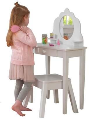 Kid Kraft Medium Wooden Vanity & Stool - White, Children's Furniture, Kid's Bedroom Storage