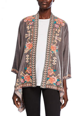 Johnny Was Plus Size Meave Floral Embroidered Velvet Drape Jacket