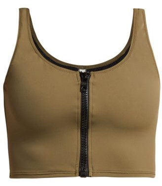 Solid & Striped The Christie Zipped Bikini Top - Womens - Khaki