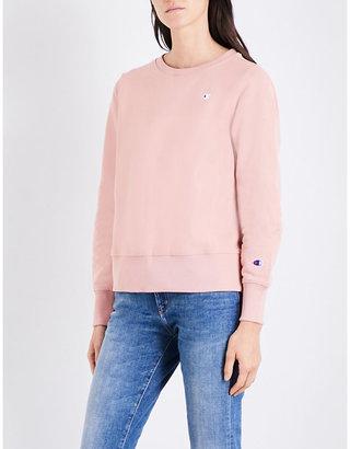 Champion Ladies Pink Embroidered Classic Crewneck Cotton-Jersey Sweatshirt $82 thestylecure.com