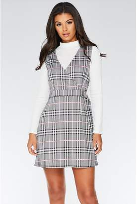 Quiz Black And White Pinafore Dress