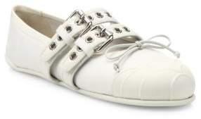 Miu Miu Cap Toe Double-Strap Ballet Sneakers