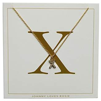d40dd4177c4350 ... Johnny Loves Rosie Women Gold Plated Glass Chain Necklace of Length  48cm X Initial Gift Card