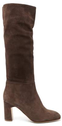 Rupert Sanderson Au Revoir Slouched Suede Knee High Boots - Womens - Dark Brown