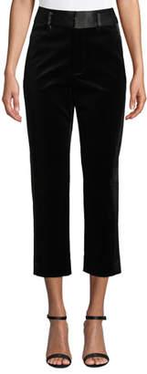 Frame Velvet Tux Cropped Straight-Leg Pants