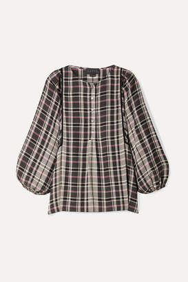 Hatch The Rose Velvet-trimmed Checked Woven Blouse - Black