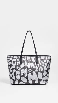 MCM Anya Leopard Print Zip Top Shopper Tote