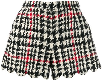 RED Valentino check scallop hem shorts