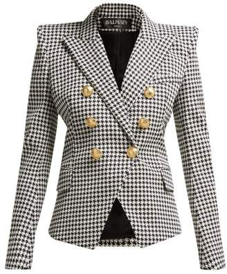 Balmain Double Breasted Houndstooth Cotton Blend Blazer - Womens - Black White