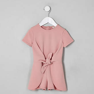 River Island Mini girls pink knot front romper