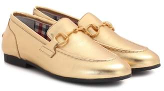 Gucci Kids Jordaan metallic leather loafers